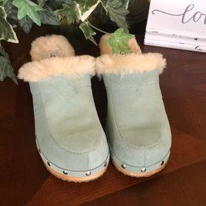 UGG Sea Foam Green Kalie Wooden Clogs